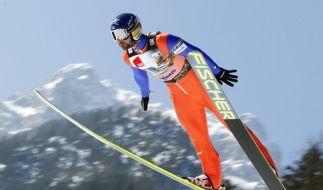 Janne Ahonen aus Finnland in Aktion am 21.03.2015 beim Skifliegen Weltcup in Planica, Slowenien. (Foto)