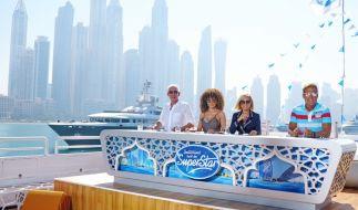 """Die """"Deutschland sucht den Superstar""""-Juroren H.P. Baxxter, Shirin David, Michelle und Chefjuror Dieter Bohlen (v.l.n.r.) machen sich zum Recall in Dubai bereit. (Foto)"""