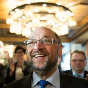 Kann auch ausgelassen: Martin Schulz am 04. Februar 2017 beim Hessengipfel der SPD in Friedewald (Hessen).