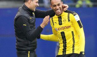 BVB-Trainer Thomas Tuchel und Pierre-Emerick Aubameyang haben sichtlich Spaß. Wird das auch in der kommenden Saison so sein? (Foto)