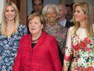 Ivanka Trump kommt neben Bundeskanzlerin Angela Merkel (CDU), IWF-Direktorin Christine Lagarde sowie der niederländischen Königin Maxima am 25.04.2017 in Berlin zum Woman 20 Dialogue Gipfel zur Stärkung von Frauen. (Foto)