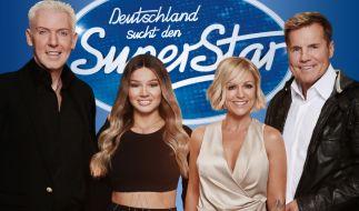 Die DSDS-Jury (v.l.) H.P. Baxxter, Shirin David, Michelle und Dieter Bohlen. (Foto)