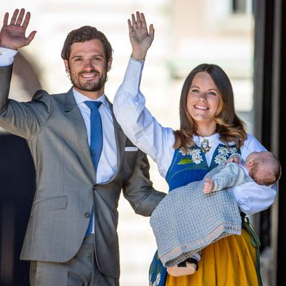 Prinz Carl Philip von Schweden mit seiner Ehefrau Prinzessin Sofia bei der Taufe ihres Sohns Prinz Alexander.
