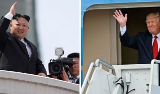 Kim Jong Un (li.) provoziert mit erneutem Raketentest. Donald Trump droht mit Sanktionen. (Foto)