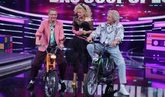 Günther Jauch, Barbara Schöneberger und Thomas Gottschalk reisen zurück in die 80er. (Foto)