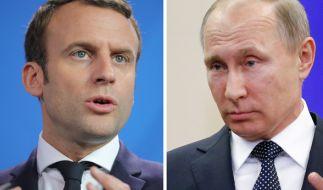 Frankreichs Präsident Macron trifft Russlands Staatsoberhaupt Putin in Versailles. (Foto)