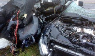 Das Auto wurde durch den Aufprall bei hoher Geschwindigkeit komplett zerstört. (Foto)
