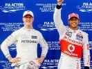 Michael Schumacher (links) undLewis Hamilton im Jahr 2012 beim Formel-1-Grand-Prix von Malaysia. (Foto)