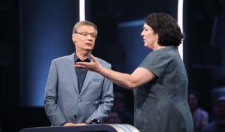 Moderator Günther Jauch mit seiner Kandidatin Carla Schaudt. (Foto)
