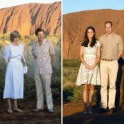 Sowohl Prinzessin Diana und Prinz Charles als auch Herzogin Kate und Prinz William besuchten bereits das Wahrzeichen Ayers Rock in Australien - und beide Prinzgemahlinnen punkteten mit einer tadellosen Kleiderwahl.