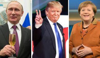 Angela Merkel wird sich beim G20-Gipfel gegen Putin (li.) und Trump durchsetzen müssen. (Foto)