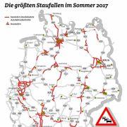 Auf diesen Strecken ist die Stau-Gefahr im Sommer 2017 am größten.