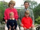 Lady Di mit Ehemann Prinz Charles und den gemeinsamen Söhnen Prinz Harry (links) und Prinz William. (Foto)
