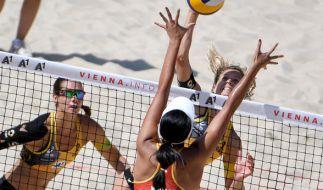 Laura Ludwig und Kira Walkenhorst haben das Viertelfinale bei der Beachvolleyball-WM 2017 in Wien erreicht. (Foto)