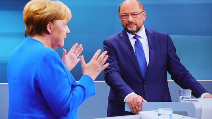 Das einzige TV-Duell zwischen Angela Merkel (CDU) und Martin Schulz (SPD) vor der Bundestagswahl 2017 wurde gemeinsam vom Ersten, RTL, SAT.1 und ZDF übertragen. (Foto)