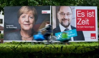 Merkel und Schulz kämpfen beide um das Kanzleramt. (Foto)