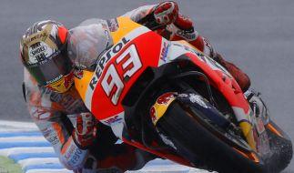 MotoGP: Grand Prix von Japan, Qualifying in Motegi (Japan). Der Spanier Marc Marquez in Aktion beim Freien Training. (Foto)