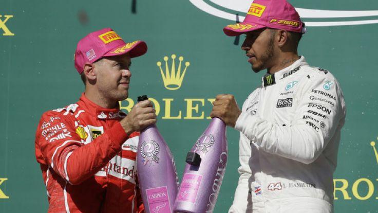 Sebastian Vettel (li.) kann Lewis Hamilton im WM-Kampf wohl kaum mehr gefährlich werden.