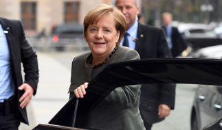 Angela Merkel hat allen Grund zur Freude: Die Union liegt auch im aktuellen Wahltrend vorn. (Foto)