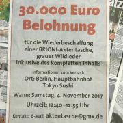 30.000 Euro Finderlohn! Keine Hinweise auf gestohlene Tasche (Foto)