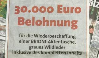 Bis zu 30.000 Euro verspricht eine 61-Jährige für die Rückgabe ihrer gestohlenen Aktentasche. (Foto)