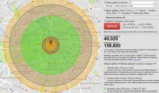 Was passiert, wenn eine Atombombe Berlin trifft? Die Seite nuclearsecrecy zeigt ein mögliches Szenario. (Foto)