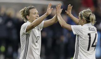 Für die deutschen Fußballfrauen steht am Donnerstag das Testspiel gegen Frankreich an. (Foto)