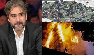 Der Journalist Deniz Yücel (li.) wird nach wie vor in der Türkei festgehalten. Bei einem Attentat auf ein Festival sterben in Las Vegas 58 Menschen (re. oben), bei einem Großbrand im Grenfell Tower sterben 71 Bewohner (re. unten). (Foto)