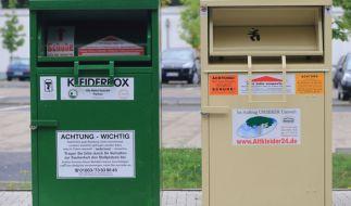 In Wetzlar verklemmte sich ein Dieb in einem Altkleider-Container und starb. (Foto)