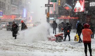 Der Schnee hat New York im Griff. (Foto)
