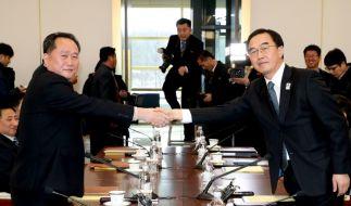 Historischer Handschlag zwischen Nord- und Südkorea. (Foto)