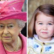 Unverkennbare Ähnlichkeit: Prinzessin Charlotte ähnelt ihrer Urgroßmutter Queen Elizabeth II. verblüffend.