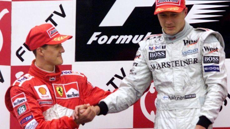 Michael Schumacher (links) und Mika Häkkinen waren jahrelang Konkurrenten.