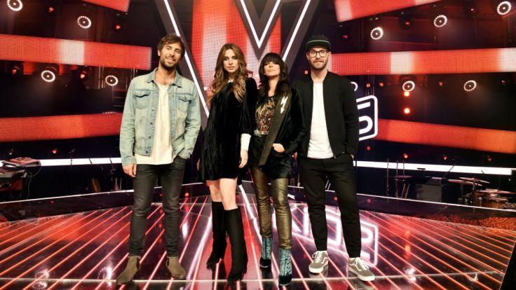 """Die """"The Voice Kids""""-Jury: Max Giesinger, Mutter-Tochter-Erfolgsteam Nena und Larissa, sowie Mark Forster. (Foto)"""