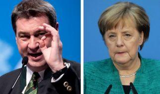 Beim politischen Aschermittwoch attackiert Markus Söder Bundeskanzlerin Merkel. (Foto)