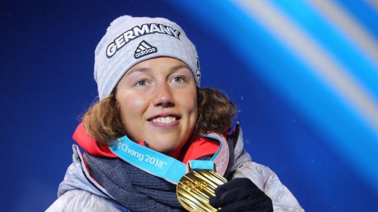 Erfolgskurs! Laura Dahlmeier hat bei Olympia 2018 einen Lauf.