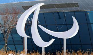 Das Logo der Paralympischen Spiele steht vor dem Pressezentrum in Pyeongchang. (Foto)