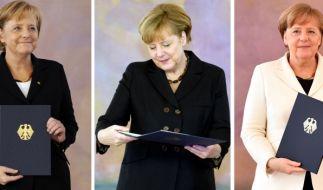 Angela Merkel hat zum vierten Mal nach 2005, 2009 und 2013 ihre Ernennungsurkunde als Bundeskanzlerin in Empfang genommen. (Foto)