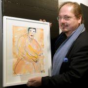 Jürgen Tarrach mit seinem Gemälde