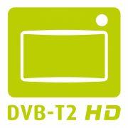 Das grüne DVB-T2-HD-Logo markiert kompatible Geräte.