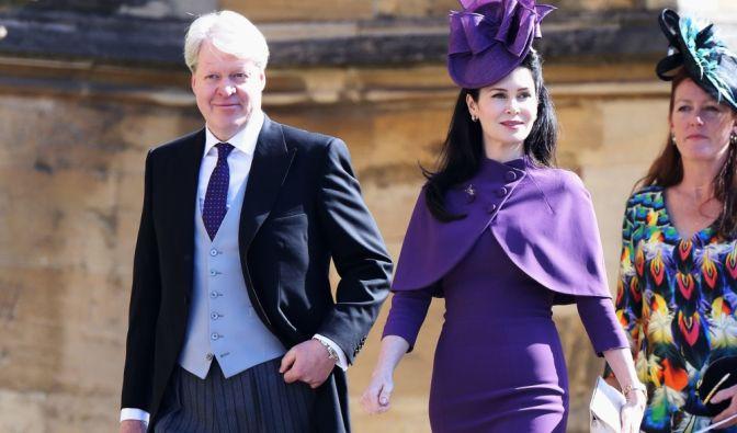 Die Hochzeitsgäste Charles Spencer, Bruder der verstorbenen Lady Di, und Karen Spencer kommen zur St.Georgs-Kapelle.