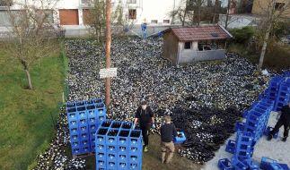 """30.000 Pfandflaschen im Vorgarten: Stundenlang hatten Hochzeitsgäste und Mitglieder des Grasbrunner Burschenvereins an der """"Überraschung"""" für das Hochzeitspaar gearbeitet. (Foto)"""