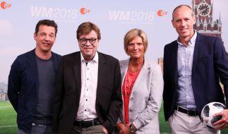 Gemeinsam mit Oliver Schmidt, Bela Rethy und Martin Schneider übernahm Claudia Neumann die ZDF-Berichterstattung von der Fußball-WM 2018. (Foto)