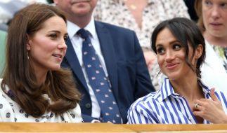 Kate Middleton und Meghan Markle beim diesjährigen Tennis-Turnier in Wimbledon. (Foto)