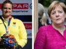 Kugelstoßerin Christina Schwanitz ist von Angela Merkel enttäuscht. (Foto)