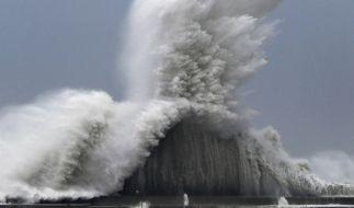 Hohe Wellen brechen an Wellenbrechern in einem Hafen von Aki. Ein besonders starker Taifun hat den Luftverkehr in Japan stark beeinträchtigt. (Foto)