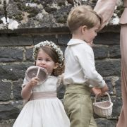 Die britische Prinzessin Charlotte und Prinz George nehmen als Brautjungfer und Pagenjunge an der Hochzeit von Pippa Matthews, Schwester von Herzogin Kate, in der St. Marks Kirche teil.