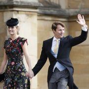 James Blunt kommt mit seiner Frau Sofia Wellesley zu Eugenies Hochzeit.