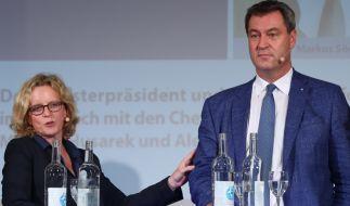 Wahl-Duell bei der Landtagswahl in Bayern:SPD-Spitzenkandidatin Natascha Kohnen undCSU-Ministerpräsident Markus Söder hoffen gute Ergebnisse für ihre Parteien. (Foto)