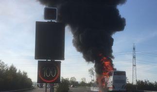 Am frühen Nachmittag ist auf der Autobahn A1 in der Schweiz ein Bus in Brand geraten. Der doppelstöckige Reisebus aus Deutschland brannte vollständig aus. (Foto)